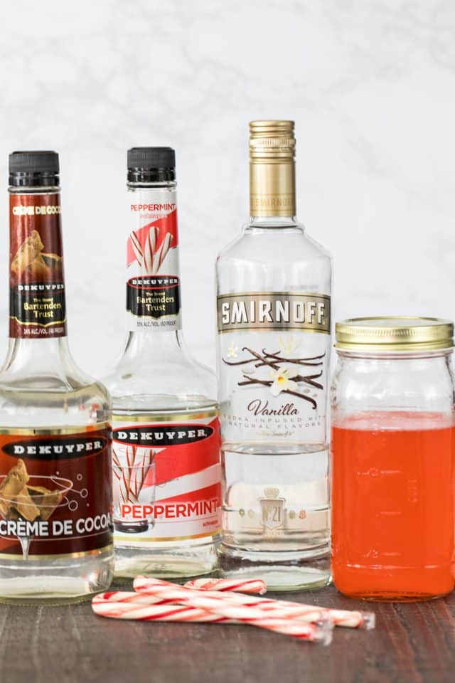 Ingredients to make candy cane martinis