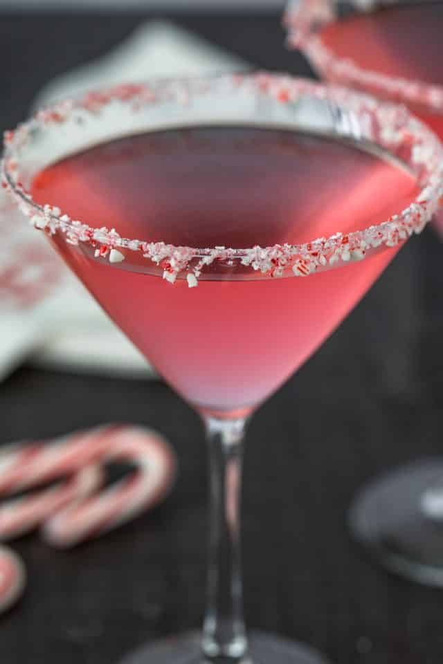 candy cane martini in glass