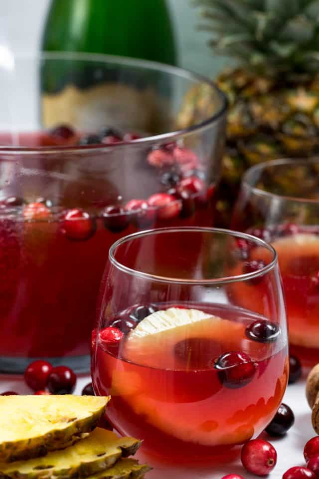 Cranberry Champagne Punch recipe with vodka and pineapple