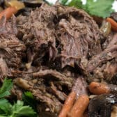 pot roast shredded on white plate