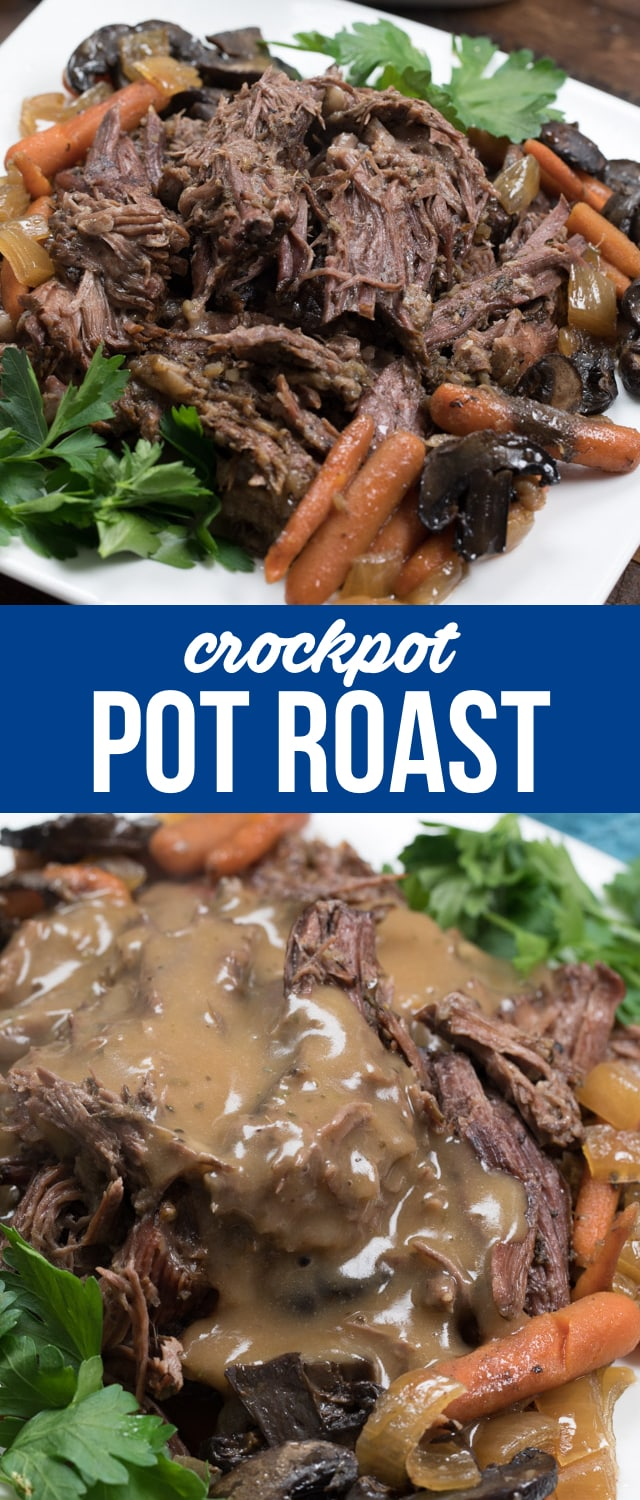 Make a Crockpot Pot Roast for the ultimate dinner! This easy pot roast recipe can be made in the crockpot or the instant pot. Crockpot Pot Roast with gravy is one of our favorite meals!