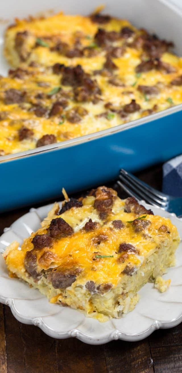 Easy Hash Brown Casserole Eggs Sausage Cheese Crazy For Crust