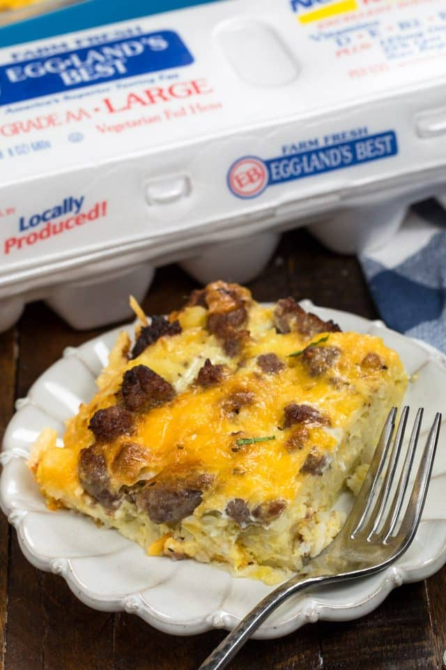 slice of hashbrown egg casserole