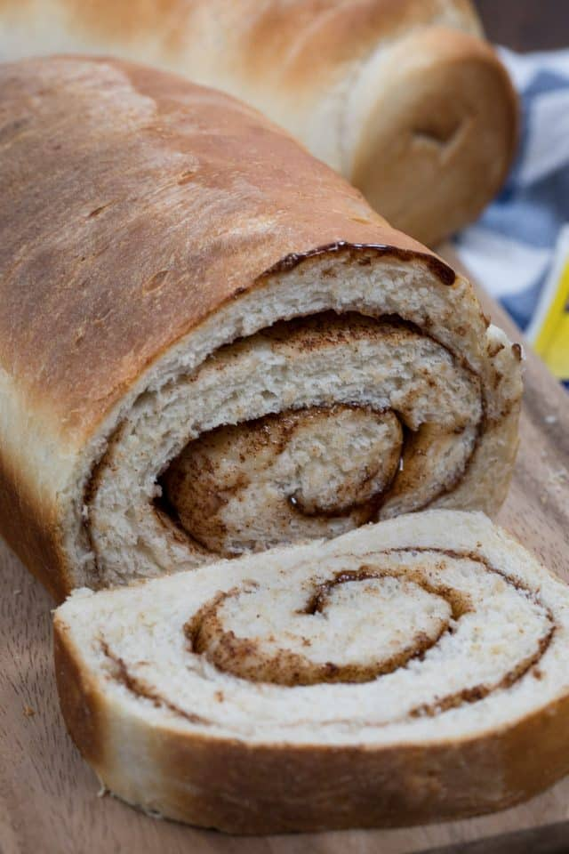 sliced cinnamon swirl bread