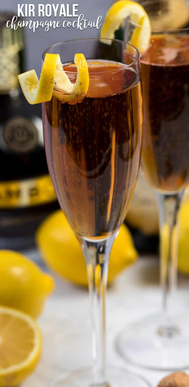 A Kir Royale is a Champagne Cocktail made with champagne and Chambord. It's a fancy cocktail that's perfect for date night or a party!