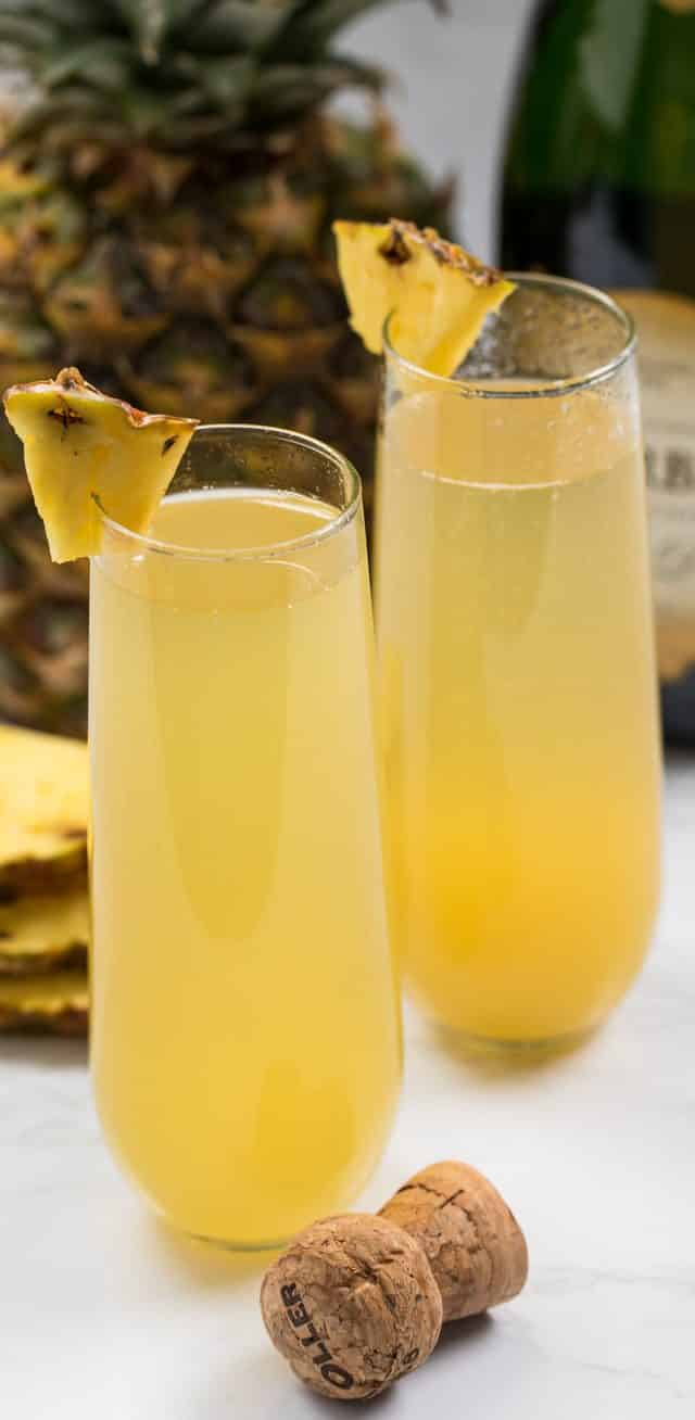 pineapple mimosa in glass