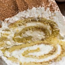 sliced tiramisu cake roll