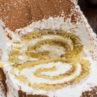 sliced tiramisu cake roll