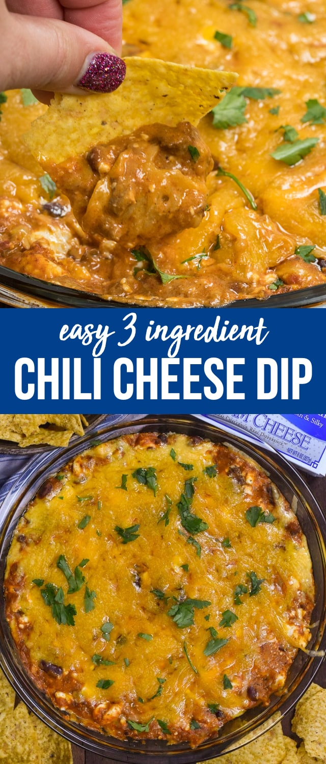 This easy chili cheese dip has just 3 ingredients and is done in under 20 minutes. It's the perfect cheesy appetizer for game day or any party!