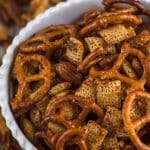 bbq Chex mix recipe in white bowl