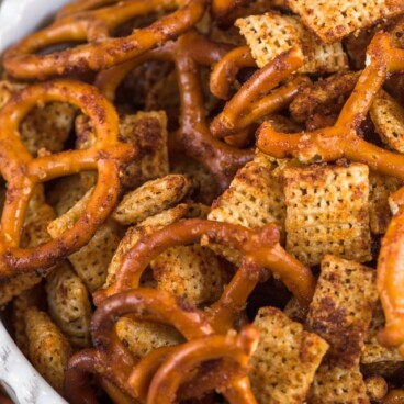 bbq Chex mix recipe in bowl