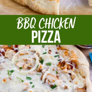 collage of bbq chicken pizza photos