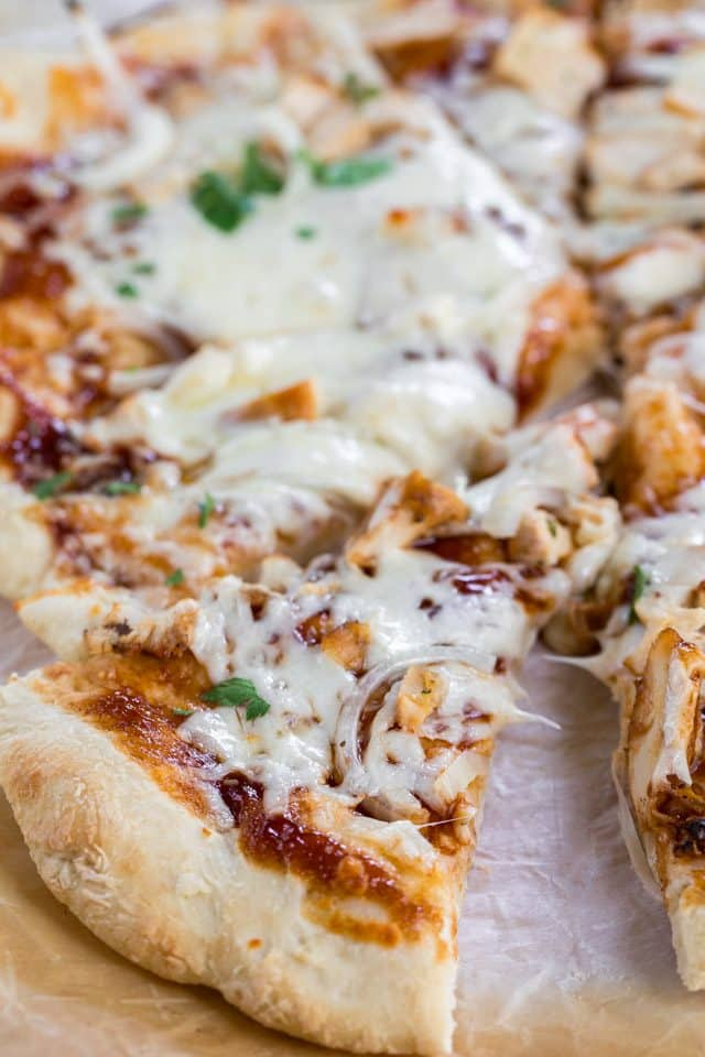 sliced bbq chicken pizza
