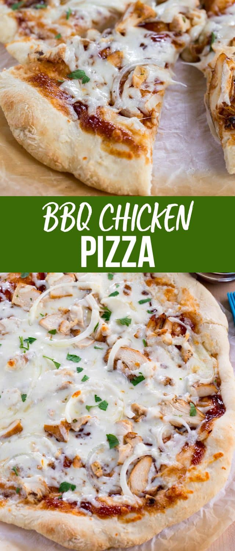 collage of bbq chicken pizza photos