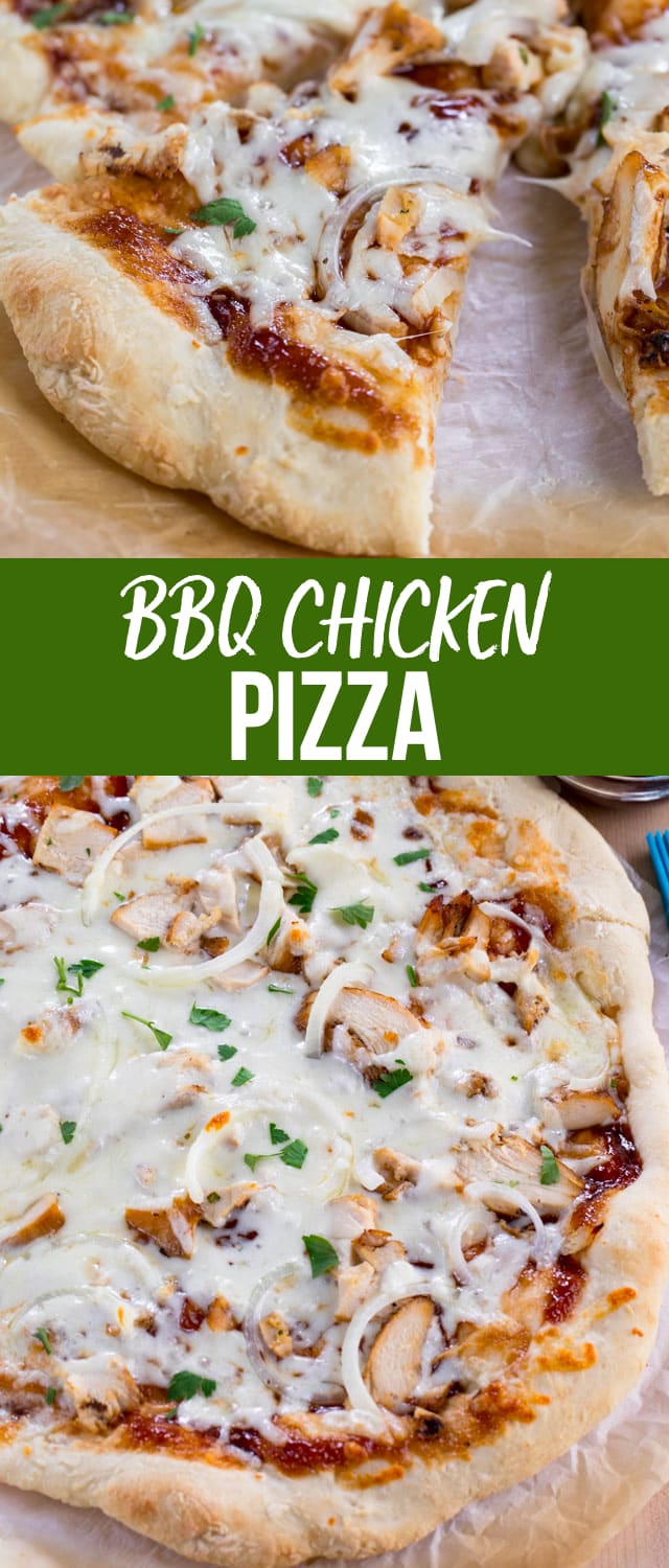 BBQ Chicken Pizza is a homemade copycat of your favorite pizza recipe! Homemade pizza crust topped with BBQ sauce, chicken, and cheese make for the easiest pizza recipe ever.