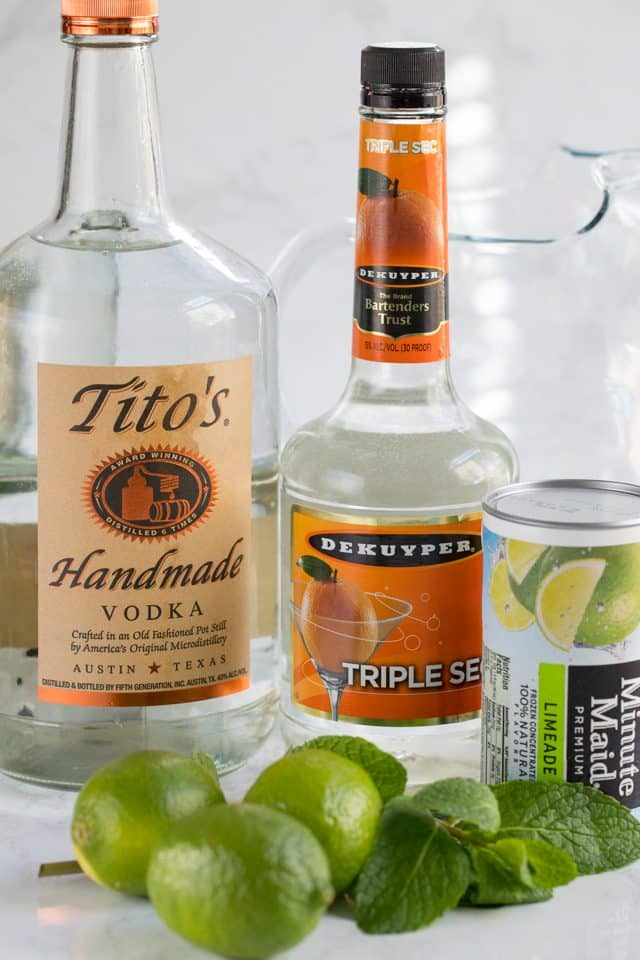 Ingredients for vodka limeade punch