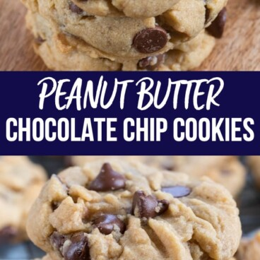 collage of peanut butter chocolate chip cookies