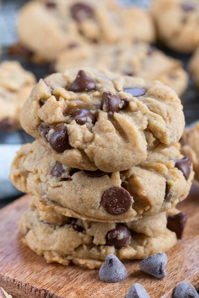 peanut butter chocolate chip cookies in a stack