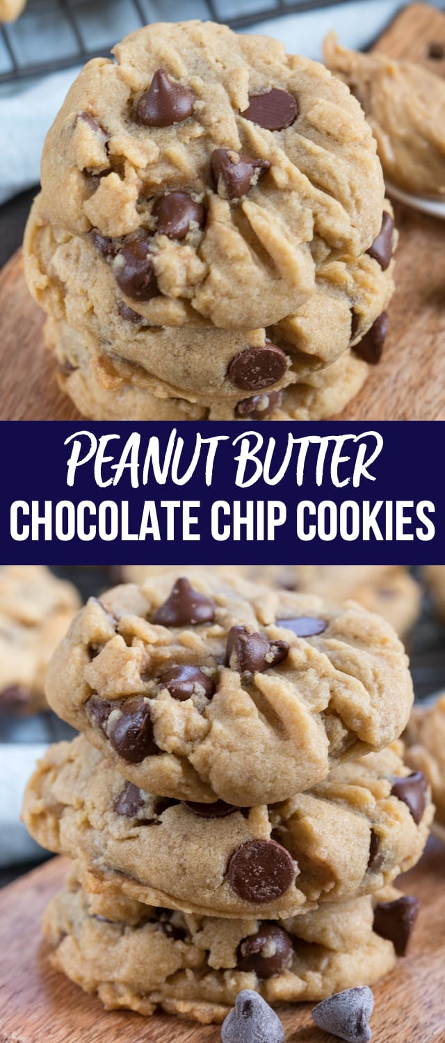 Peanut Butter Chocolate Chip Cookies are the best of both worlds: peanut butter cookies mixed with chocolate chip cookies!