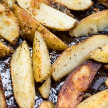 oven roasted potatoes on baking sheet