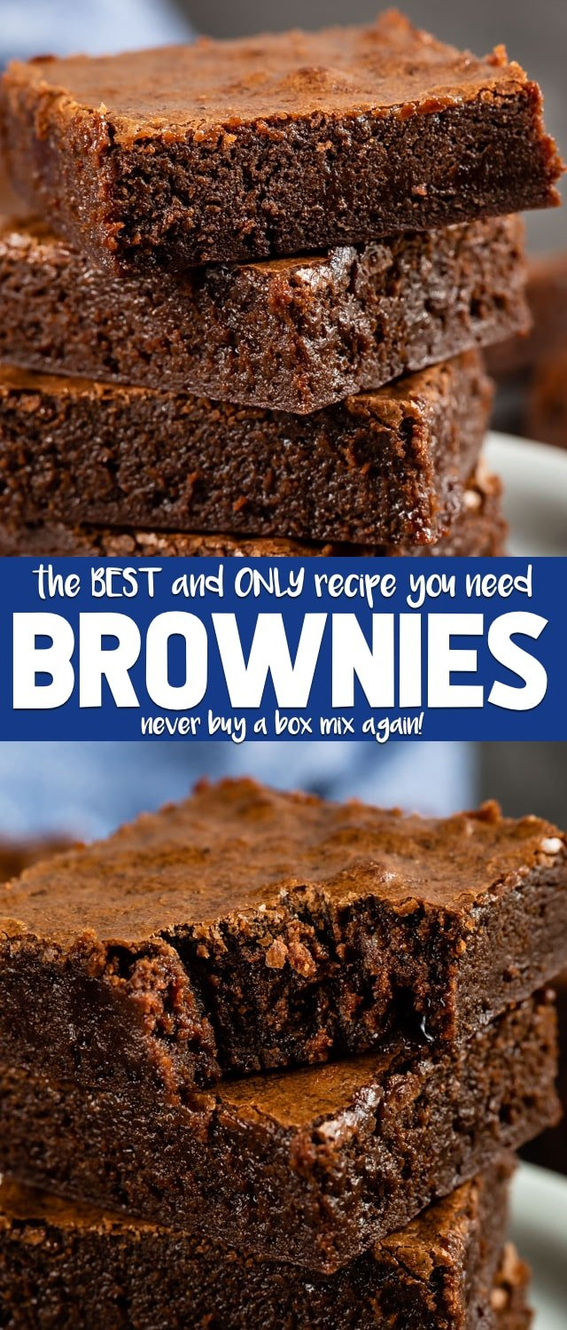This is the BEST BROWNIE RECIPE ever! You'll never buy a box mix again after making this easy one bowl brownie recipe. They're fudgy and rich and the perfect brownie recipe!