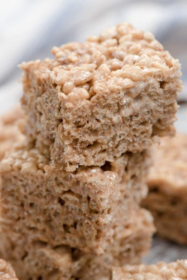 stack of brownie batter Krispie treats
