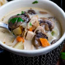 chicken mushroom soup in bowl