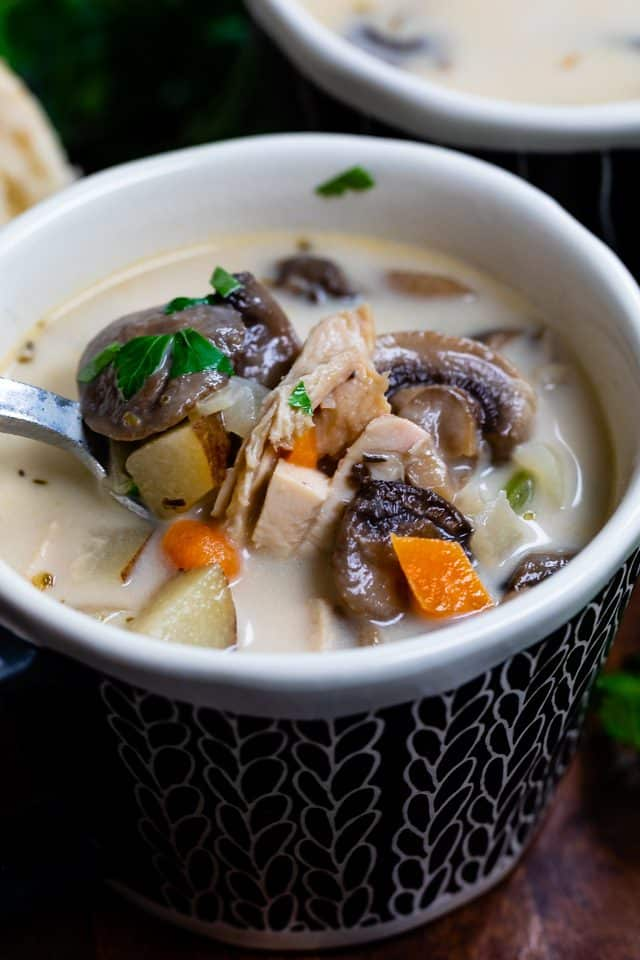 chicken mushroom soup in bowl