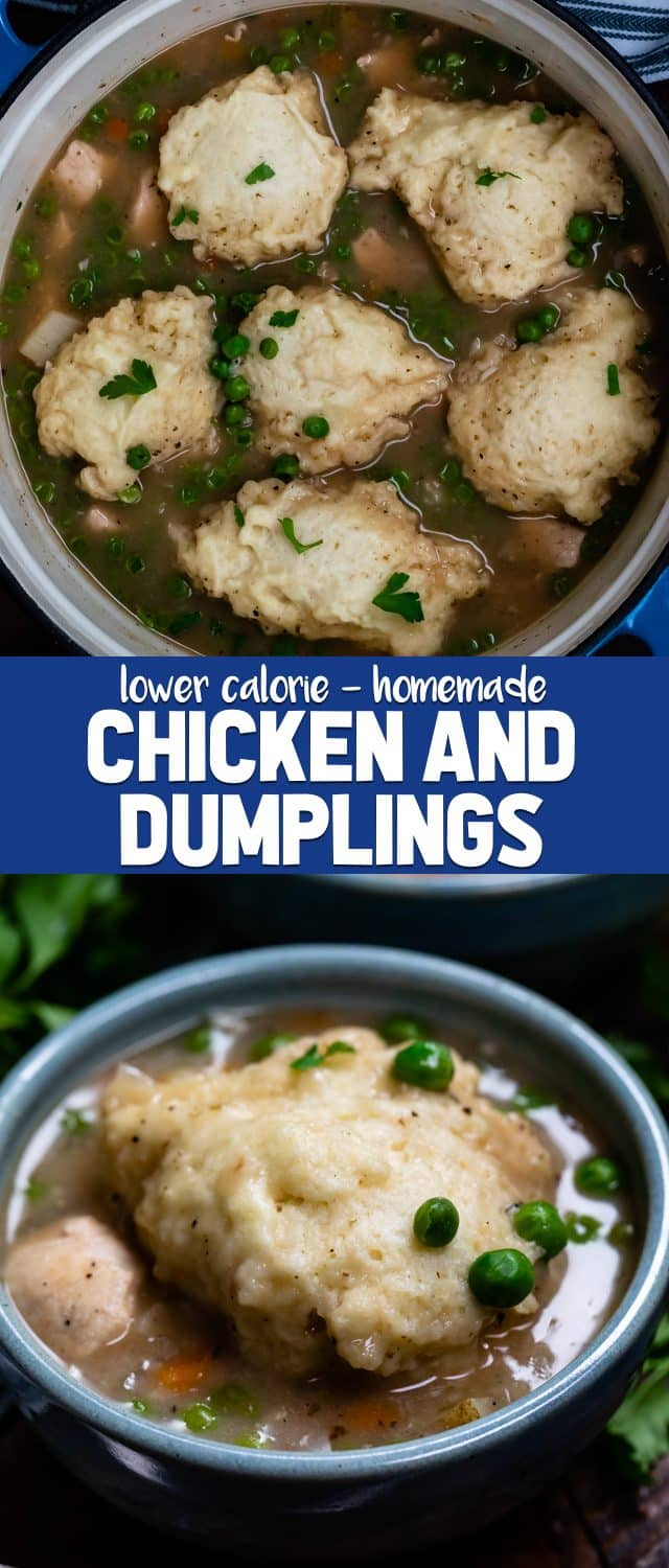 collage of chicken and dumplings photos
