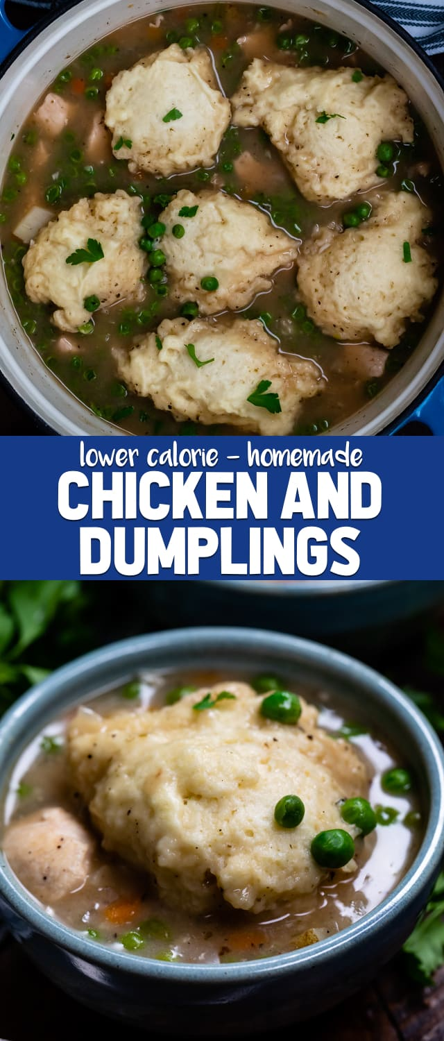 Easy 30 minute Chicken and Dumplings is the perfect soup for dinner! This is a lower calorie chicken and dumplings recipe that's full of flavor!