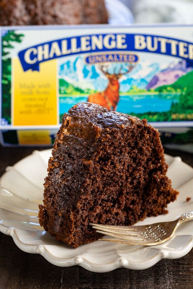 chocolate butter cake slice on plate