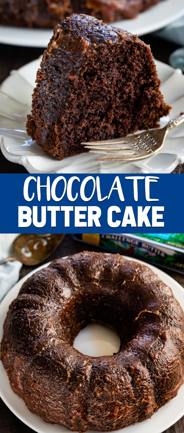 Chocolate Butter Cake is a rich chocolate cake that start with a cake mix. It's full of butter and has a gooey chocolate butter sauce poured all over the top. This is the perfect easy cake recipe!