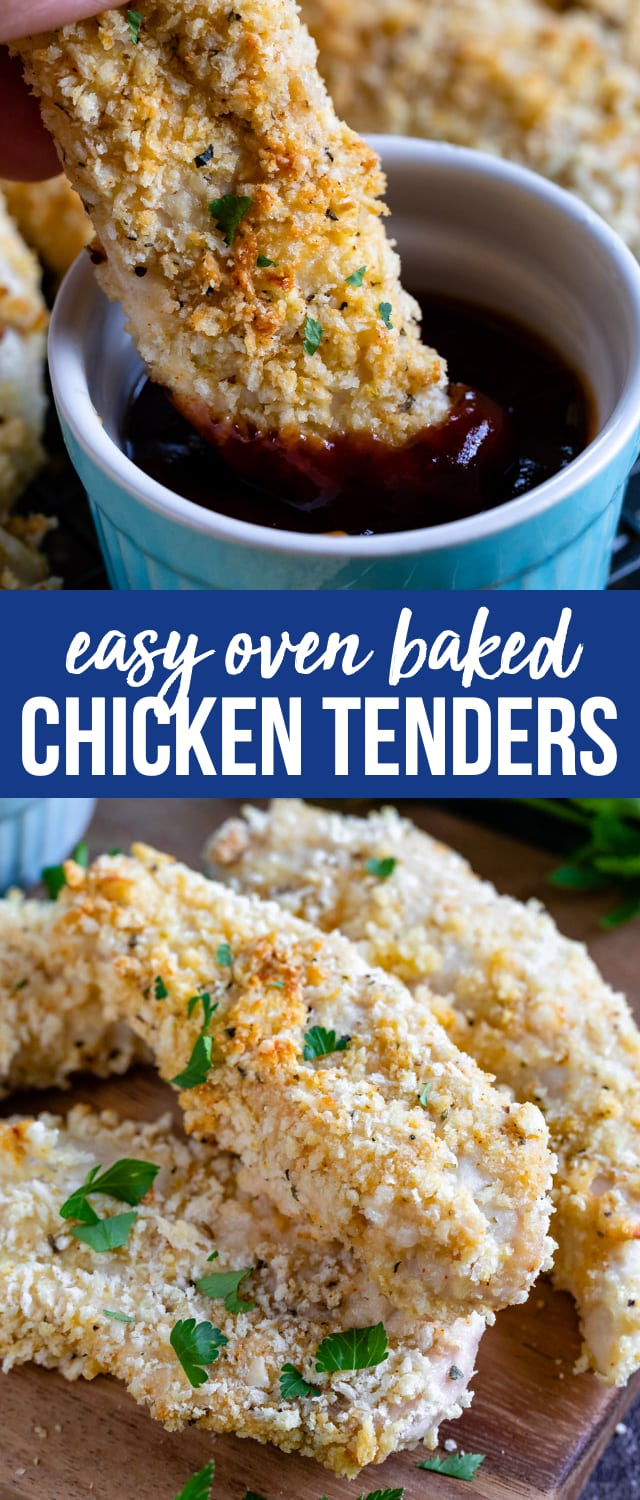 Easy Oven Baked Chicken Tenders are the perfect easy dinner recipe. These are baked in the oven so they're healthier than fried, but they're crunchy and full of flavor.