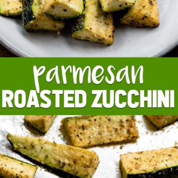 parmesan roasted zucchini on white plate collage photo