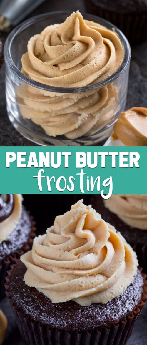 collage of peanut butter frosting recipe photos