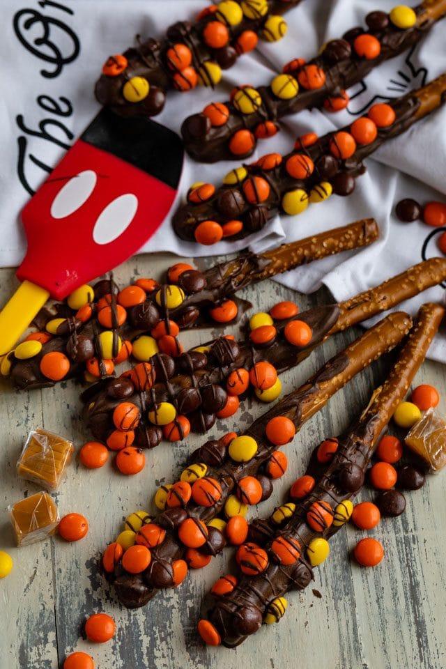 reuse's dipped pretzels overhead shot