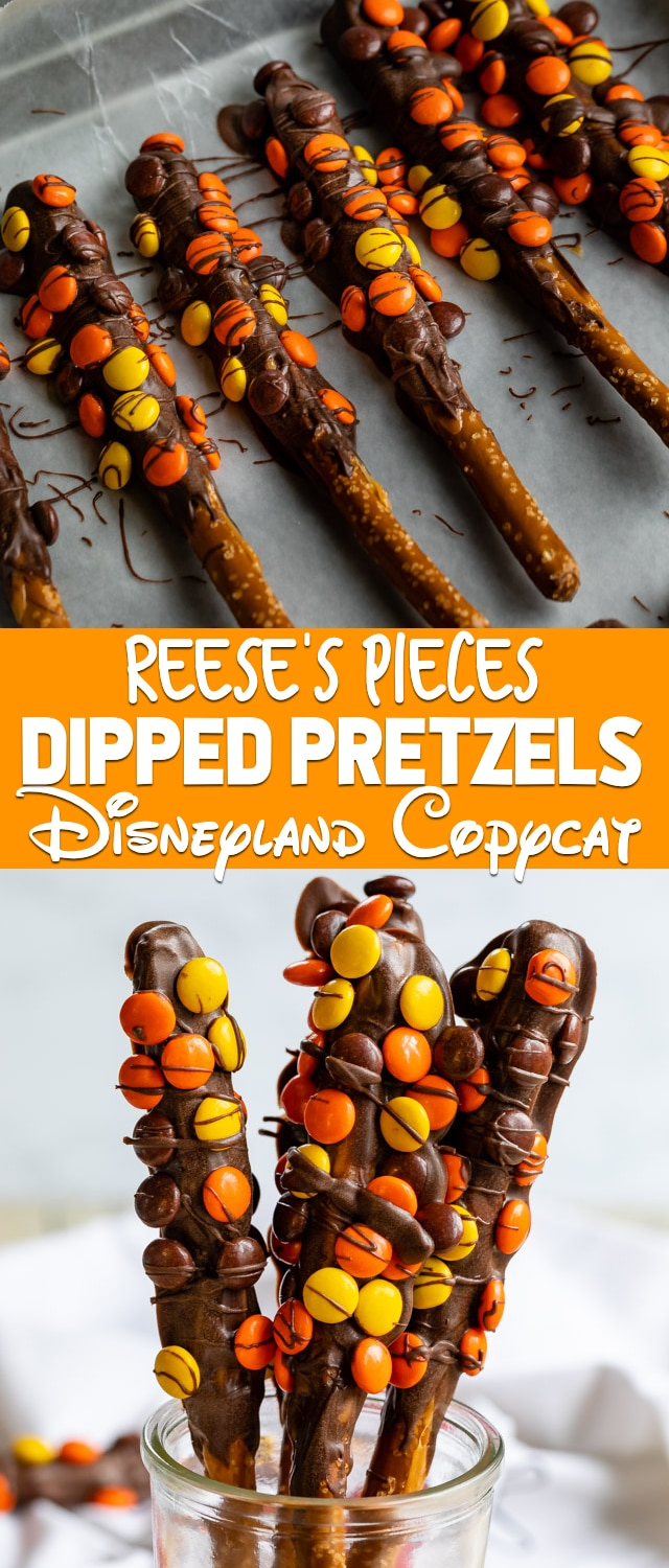 Reese's Dipped Pretzels are a Disneyland copycat recipe! Pretzel rods are dipped in caramel and chocolate and coated with Reese's Pieces. These are easy to make at home!