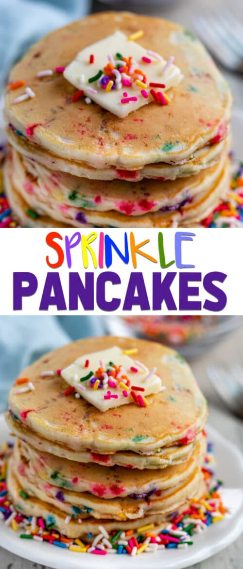 sprinkle pancakes collage