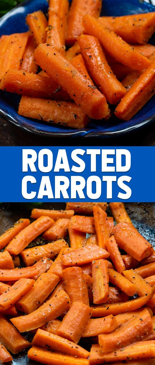 collage of roasted carrots photos