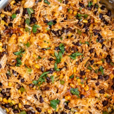 enchilada skillet in pan overhead