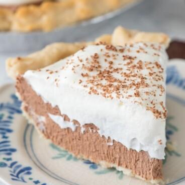 slice of French silk pie