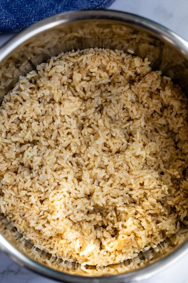 overhead shot instant pot brown rice