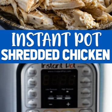 collage photos instant pot shredded chicken