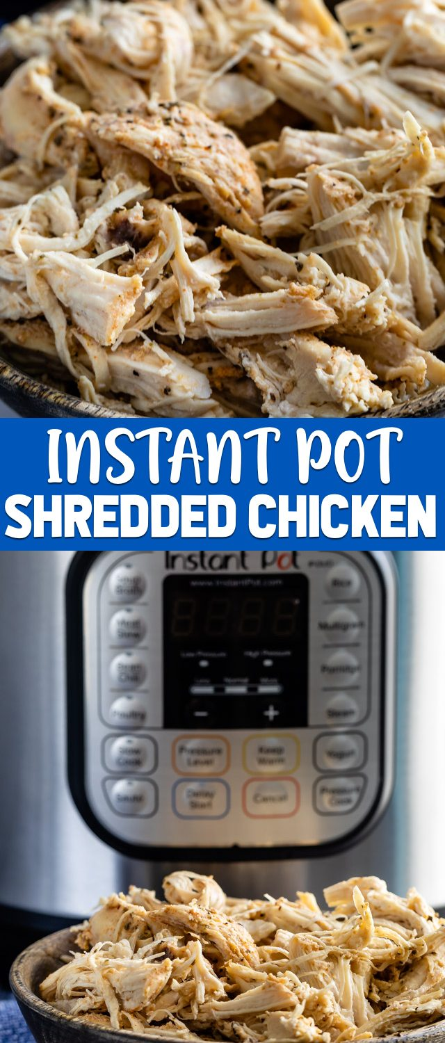 collage photos instant pot shredded chicken