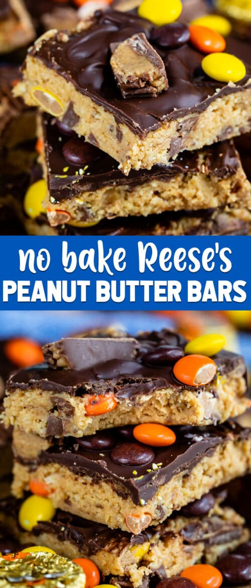 collage of no bake Reese's peanut butter bars photos