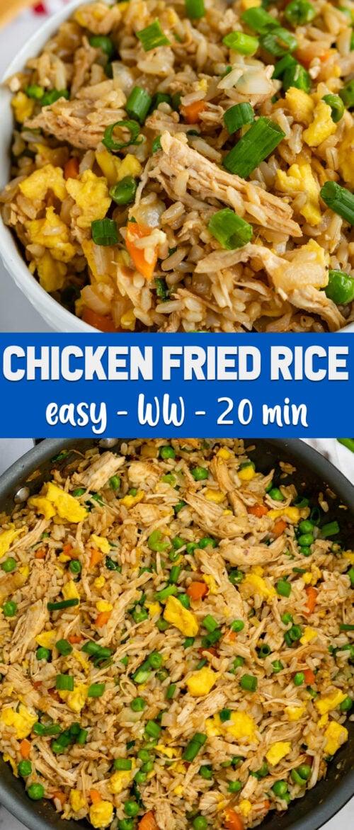 collage chicken fried rice photos