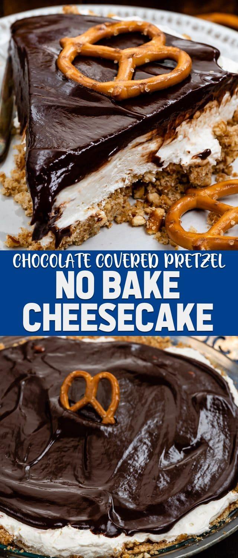 collage of chocolate covered pretzel no bake cheesecake photos