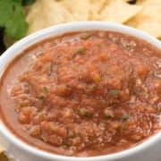 salsa in white bowl