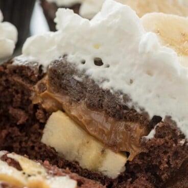 banoffee cupcake sliced open