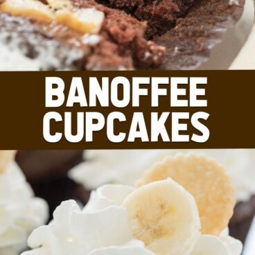 collage of banoffee cupcakes photos